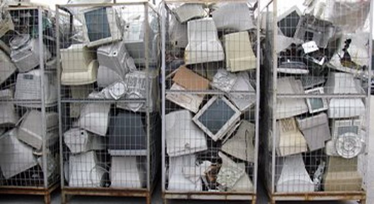 Piles of devices to be recycled